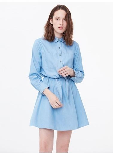 Twist Bağcık Bel Gömlek Yaka Elbise Mavi